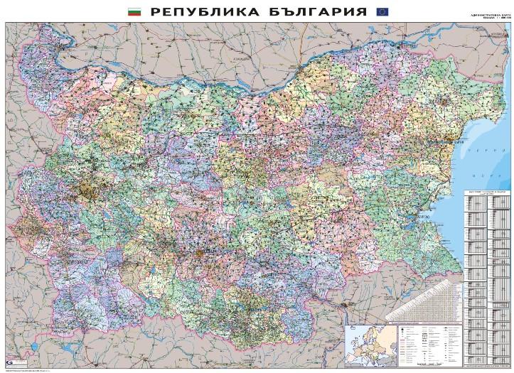 Administrativna Karta Na Blgariya 1 300 000